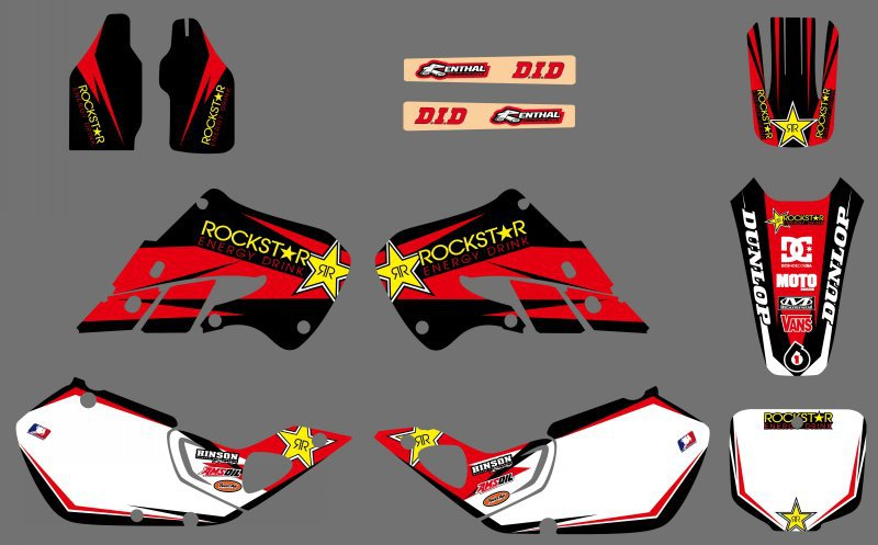 0519 NEW STYLE Star TEAM DECALS GRAPHICS & BACKGROUNDS For Honda CR125  CR250 1997 1998 1999-in Decals & Stickers from Automobiles & Motorcycles on