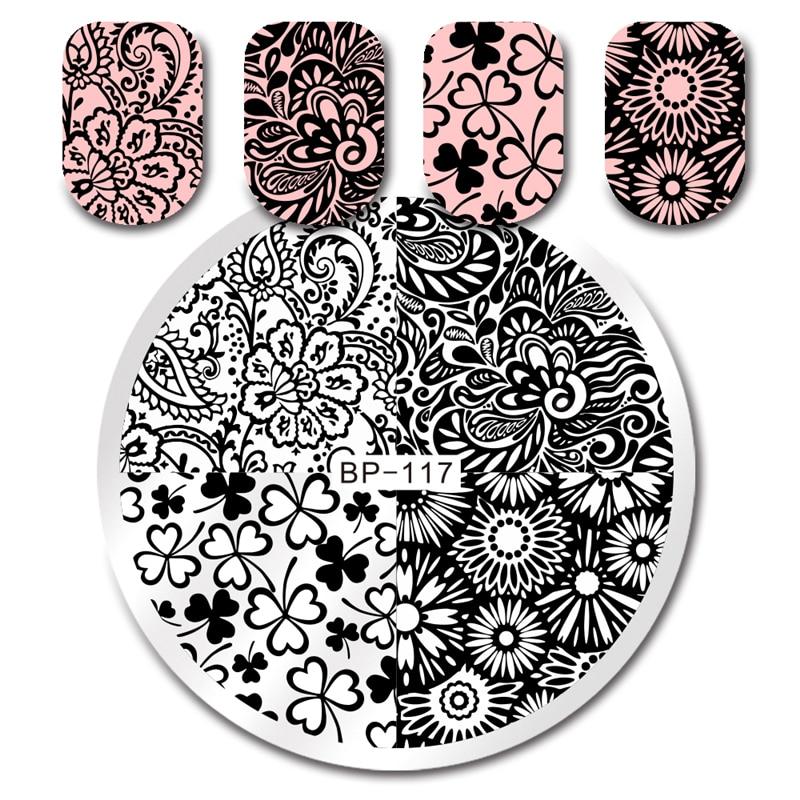 РОДИЛСЯ ДОВОЛЬНО Цветочный Дизайн Ногтей Штамповки Шаблон Круглый 5.5 см Маникюр Nail Art Штамповка Изображения Plate BP-117