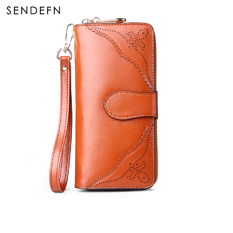 SENDEFN Vintage Leather Kvinner Wallet Long Lady Purse Kvinner Telefon Pocket Card Holder Female Clutch