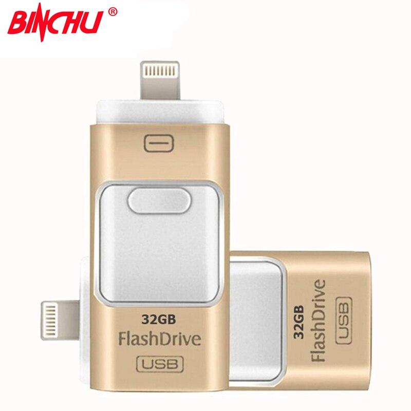 BINCHU Für iPhone 7 6 6 s Plus 5 5 S ipad Pen drive speicher stick Dual mobilen OTG Micro OTG USB-Stick 16 GB 32 GB 64 GB PENDRIVE