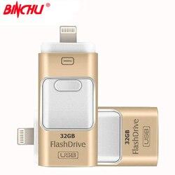 BINCHU For iPhone 7 6 6s Plus 5 5S ipad Pen drive memory stick Dual mobile OTG Micro OTG USB Flash Drive 16GB 32GB 64GB PENDRIVE