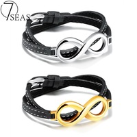 7SEAS Classic Stainless Steel Infinity Bracelet White Gold Color Man Double Layer Leather Adjustable Leagth Bracelet