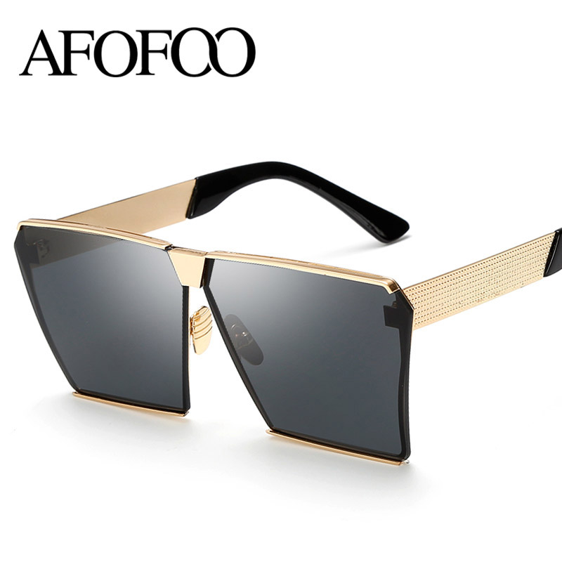 AFOFOO Fashion Oversized Sunglasses Metal Frame Square Luxury Brand Designer Women Mirror Sun glasses Men UV400 Big Frame Shades