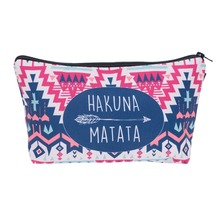 Hakuna Geometry Aztec 3D Printing Makeup Bag Necessaire Travel Make up Bag Organizer Maleta de Maquiagem Women Cosmetics Bags