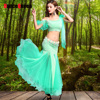 Present Belly Dancing Suit Tops Skirts For Ladies Green Blue Rose Modal Braces Skirts Women Ballroom