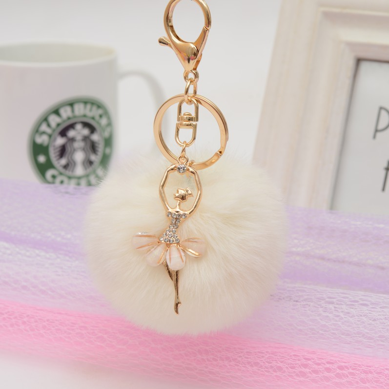 New Mini Plush Kawaii Rabbit Fur Ball Keychain  Angel Ballet Dancing Kids Plush Dolls Pom Pom Soft Fluffy Baby For Girls Gift