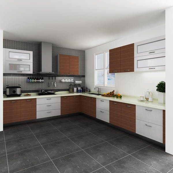 Modular Kenya Project Simple L Shaped Small Kitchen Designs (OP14 M05)-in Kitchen Cabinets From