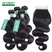 Body Wave Bundles With Closure Peruvian 4 Bundles Human Hair Weave With Lace Closure Non-Remy Hair Extensions Natural Black(China)