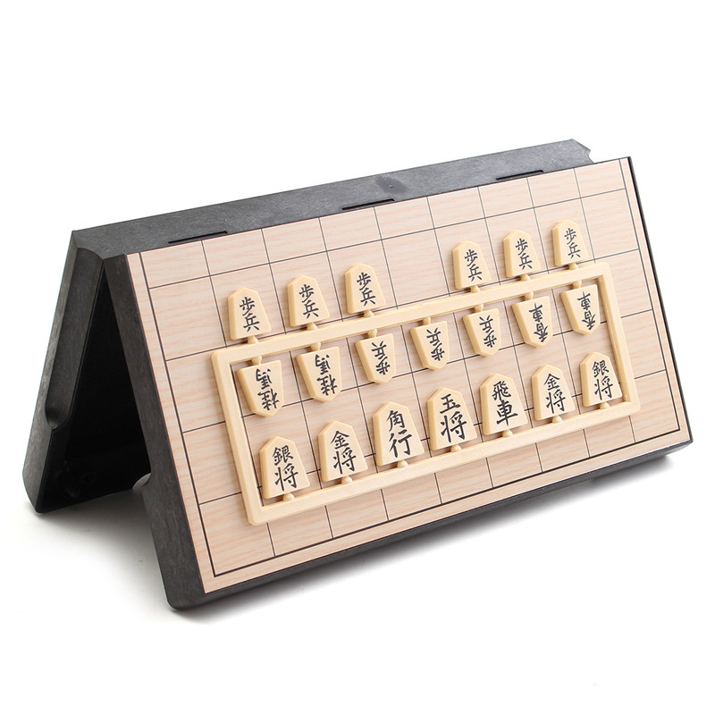 Foldable Portable Magnetic Folding Shogi Set Boxed Japanese Chess Game Sho-gi Exercise Logical Thinking 25*25*2 Cm