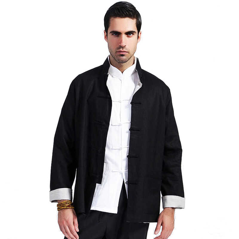 0c50e0a78ffa1 Black Beige Chinese Men Reversible Cotton Linen Jacket Novelty Kung Fu Coat  Two-sided Autumn