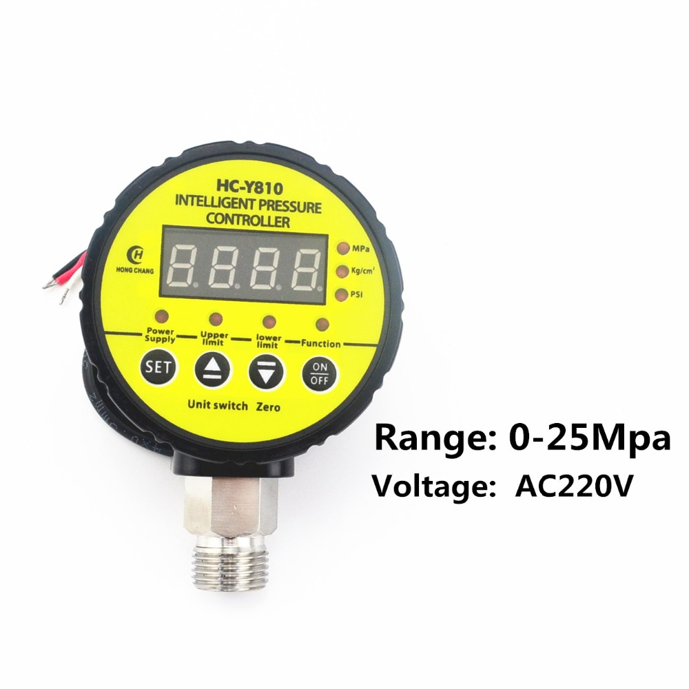 AC220V 0-25Mpa Air Compressor Pressure Switch Digital Pressure Gauge Relay output y 150 150mm radial mount 0 1 25mpa air compressor pressure gauge dial diam pneumatic