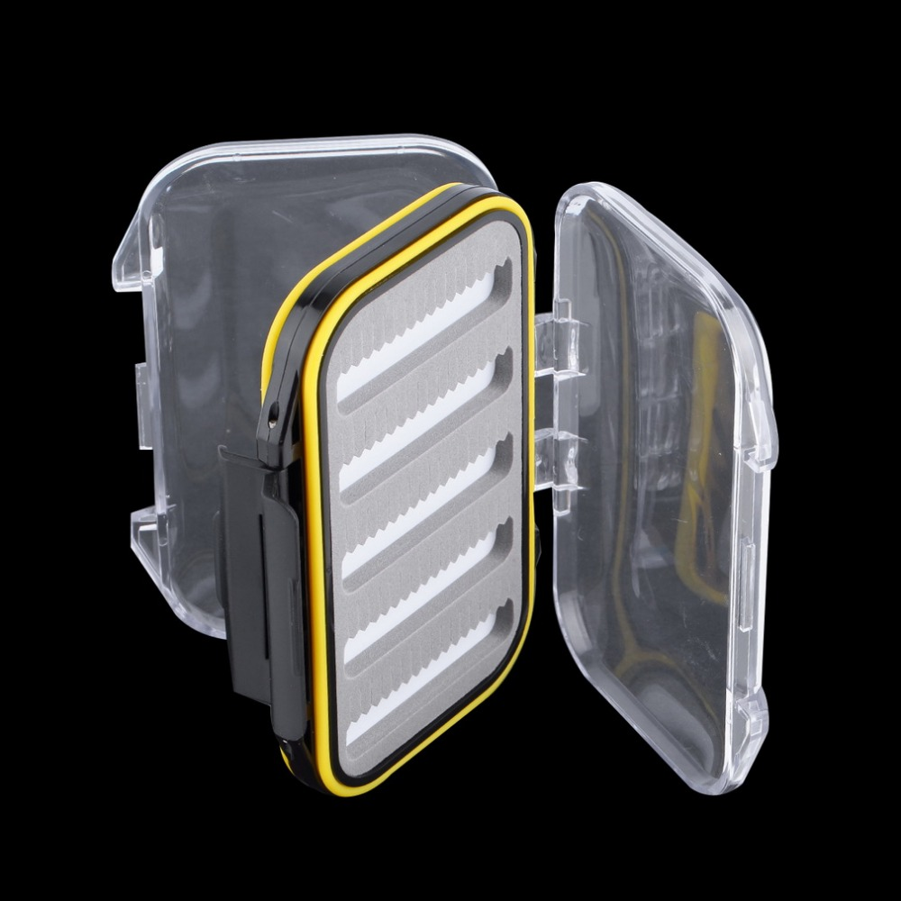 106*76*37mm Plastic Waterproof fly fishing Double Side Clear Slit Foam fly Fishing Box FLY BOX Tackle Case Box drop shipping коробка для мушек snowbee easy vue waterproof fly box large