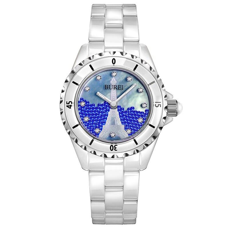 Новая мода буреи кварцевые часы Для женщин жемчуг Керамика Diamond J12 Paris La Tour Eiffel Японские Женские часы движение Montres Femme