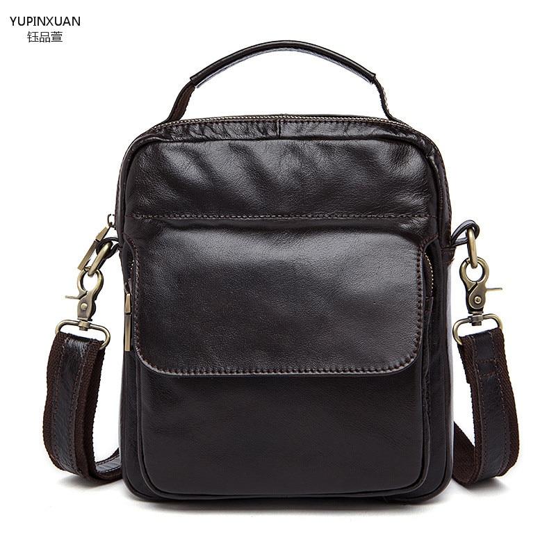 YUPINXUAN Mens Leather Messenger Bag Real Genuine Cow Leather Shoulder Bag Mini Retro Handbag Small Crossbody Bags Phone