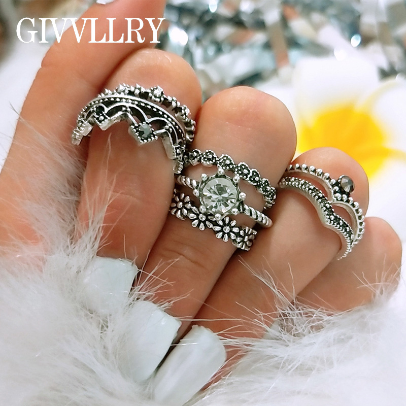 GIVVLLRY Elegant Geometric Midi Rings Jewelry Vintage Antique Silver Color Carved Floral Blossom Flower Crown Rings for Women