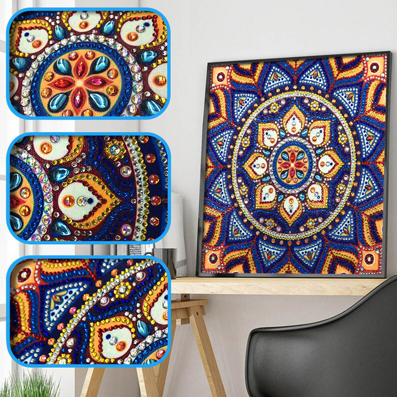 RUBOS DIY 5D Diamond Embroidery Mandala Sun Triptych Diamond Painting Multi Picture Rhinestones Pearl Big Mosaic Sale Wall Decor (53)
