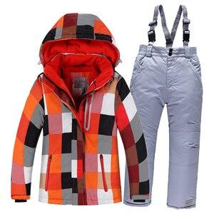 Image 2 - Лыжные костюмы для мальчиков 2020, флисовые куртки с капюшоном, комбинезоны, детские зимние комплекты, водонепроницаемый спортивный детский лыжный комплект одежды, ветрозащитная одежда