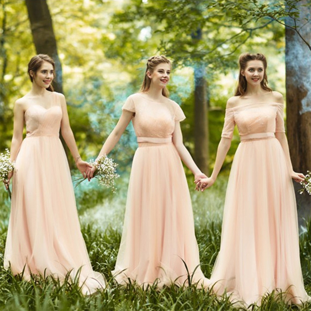 Romantic Long Blush Bridesmaid Dresses With Sleeves Pleat Tulle Lace Cute Bridesmaid  Dress Boat Neck Empire Bridesmaid Gowns B49 8ff72b812455