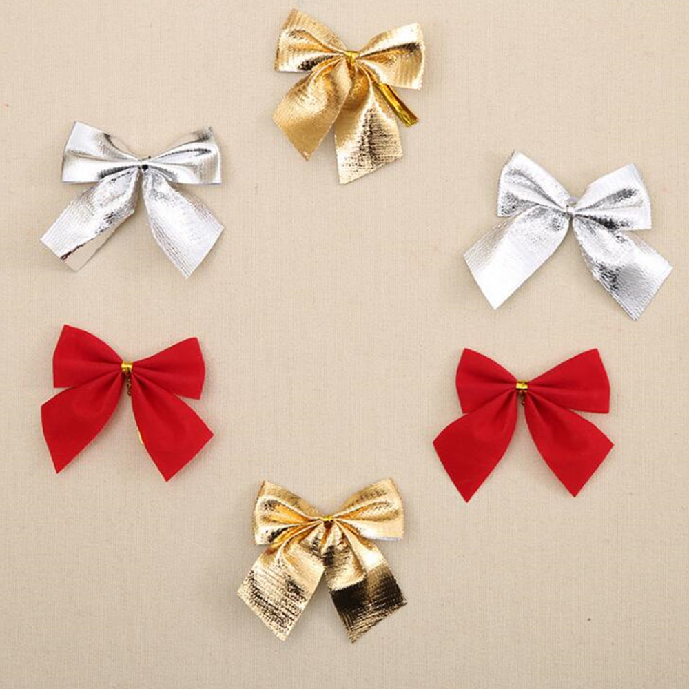 12pcs gold silver red pretty bow tie christmas tree decoration xmas ribbon bows festival pendant home bowknots baubles new decor in christmas bows from home