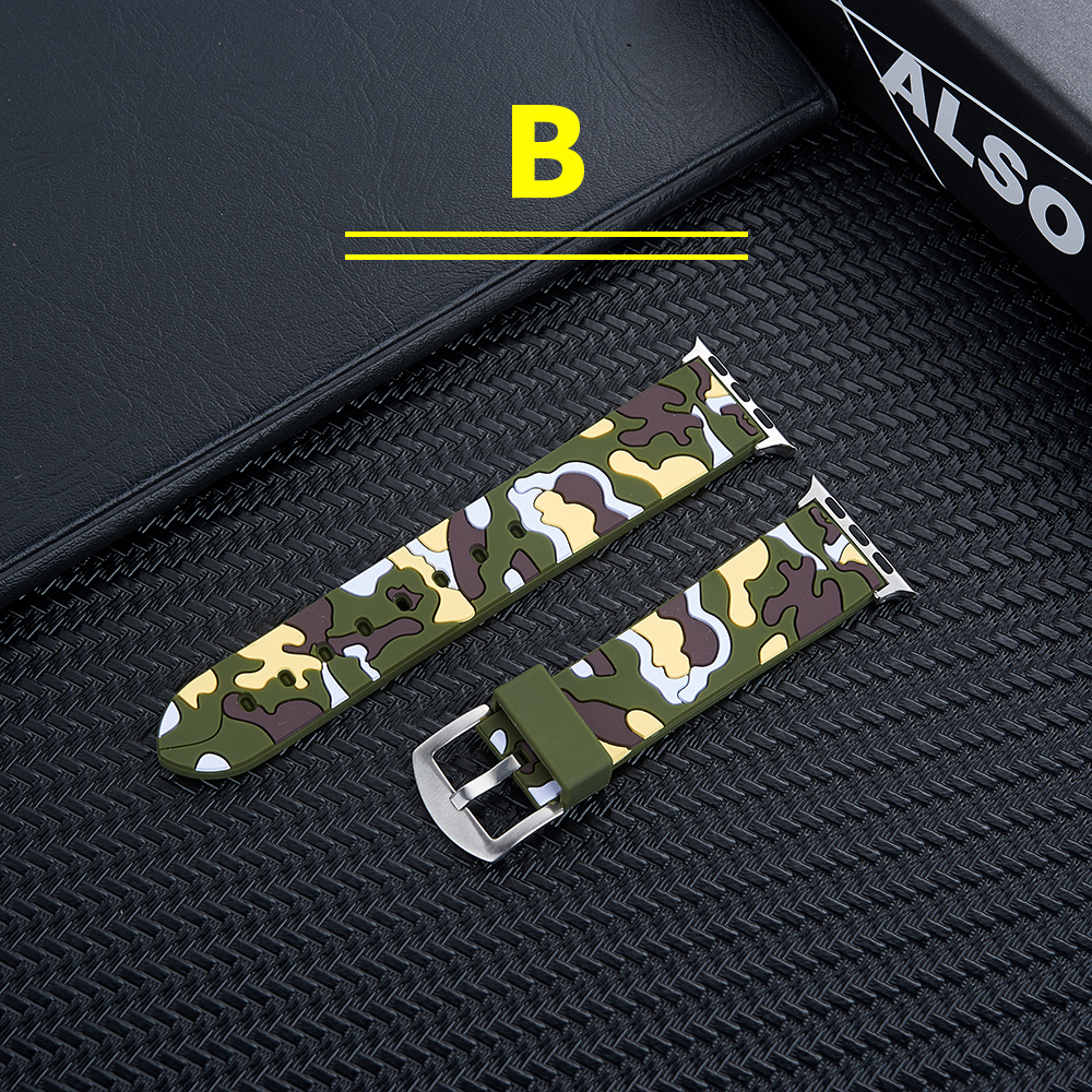 Купить с кэшбэком band For apple watch Series 1/2/3/4 Camouflage silicone Band for apple watch 42mm 38mm 44mm 40mm Replaceable Bracelet Strap
