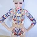 Новинка стразами печать певица Dj Ds производительность носят костюмы , установленные тонкий свободного покроя танцора сценическое шоу одежда