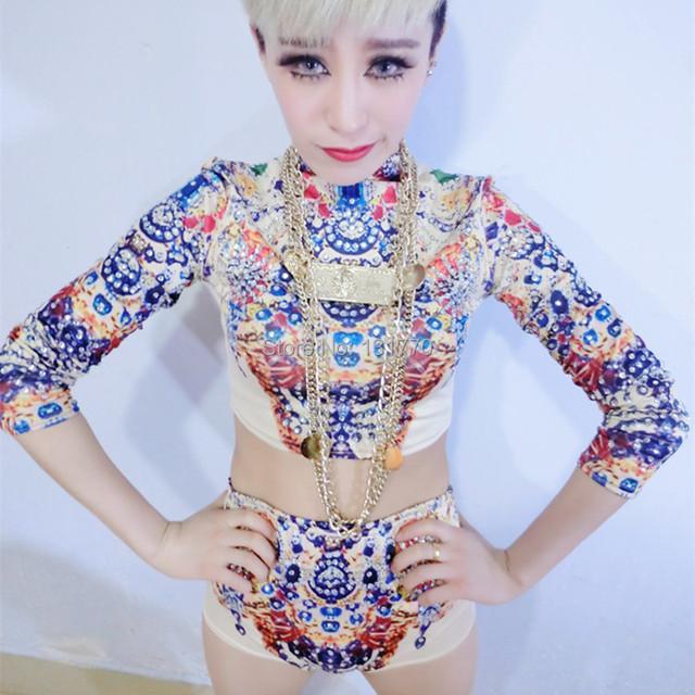 Nova moda strass impressão Dj cantor Ds trajes de desgaste desempenho Set fino mulheres dançarino roupas de palco