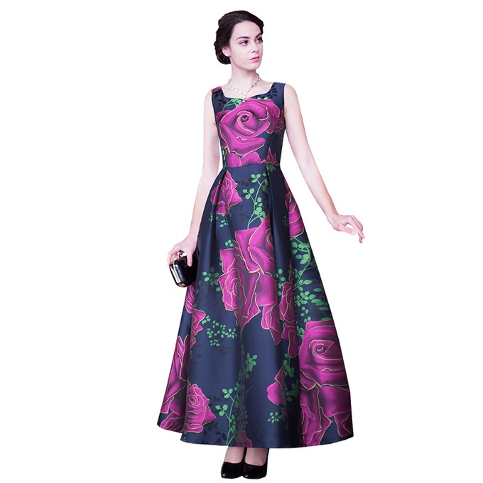 XXXXL Fashion New Summer Long Dress 2017 Evening Women Rose Floral Print Sleeveless Ball Gown Party Maxi Dress Special Events