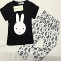 2016 autumn  children 's wear  European and American style children' s set rabbit T - shirt Harlan pants  A016