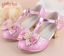 Flowers Girls Princess Sandals 2018 New Brand Summer Children Wedding Shoes for Student Glitter Kids Party Shoe size 27~37(China)