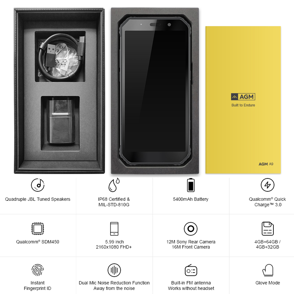 AGM A9 JBL Co Branding 5.99 FHD + 4G + 64G Android 8.1 Robuuste Telefoon 5400 mAh IP68 Waterdichte Smartphone Quad Box Speakers - 6