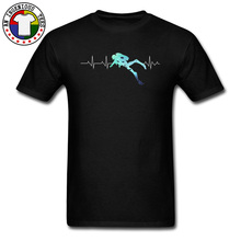 Sealife Heartbeat Scuba Dive Exercise Tshirt For Men Sea Ocean Oversized 100% Cotton Top T-shirts Father Day Best Gift