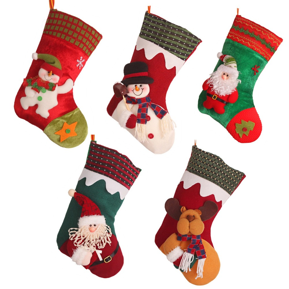 Hi Q Soft 30cm Personalized Christmas Stocking Santa Claus Sock Ornament  Random Supplies Christmas Decoration For New Year Party-in Stockings & Gift  Holders ...