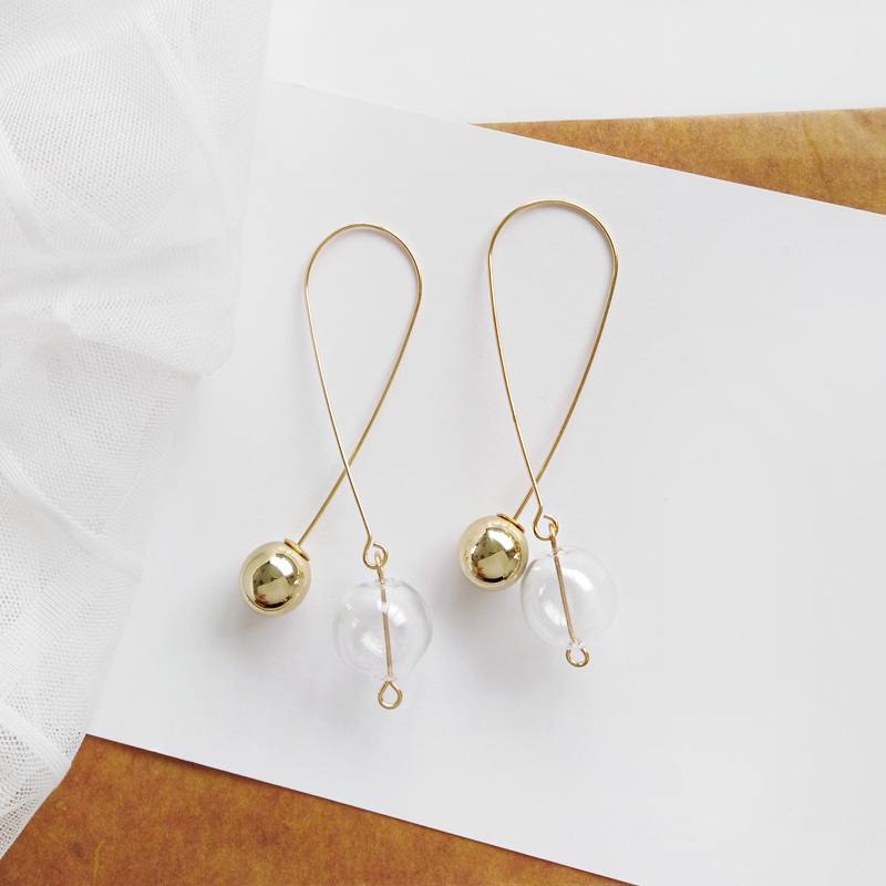 Ins Hot Simple Gold Tone Transparent Glass Ball Hoop Earrings For Women 2018 Korean Long Drop Earrings Jewelry Earrings Brincos