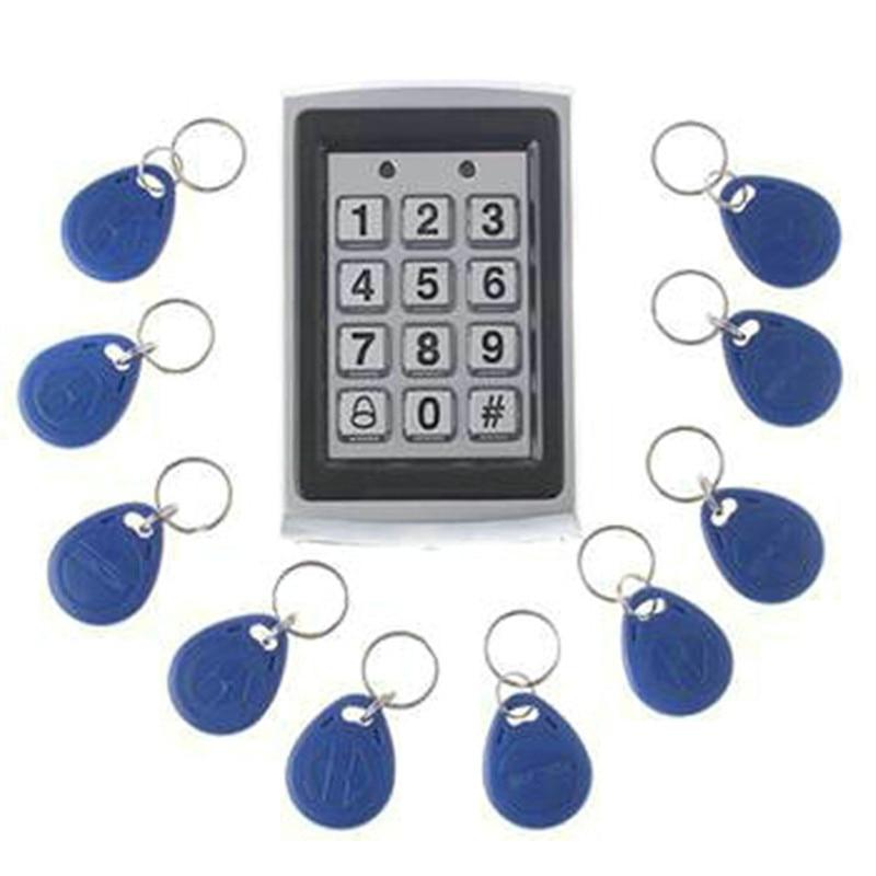 10 Stücke Karte Freies + Metall Proximity Rfid-karte Tür Eintrag Einzigen Türschloss Wasserdichte Access Control System Tastatur