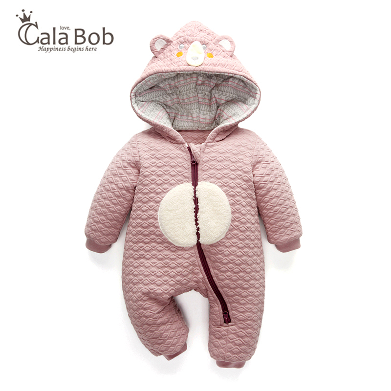 CalaBob Thick Warm Infant Baby   Rompers   Newborn Winter Clothes Cotton-padded Baby Boy Girl Jumpsuit Hooded Kid Toddler Outerwear