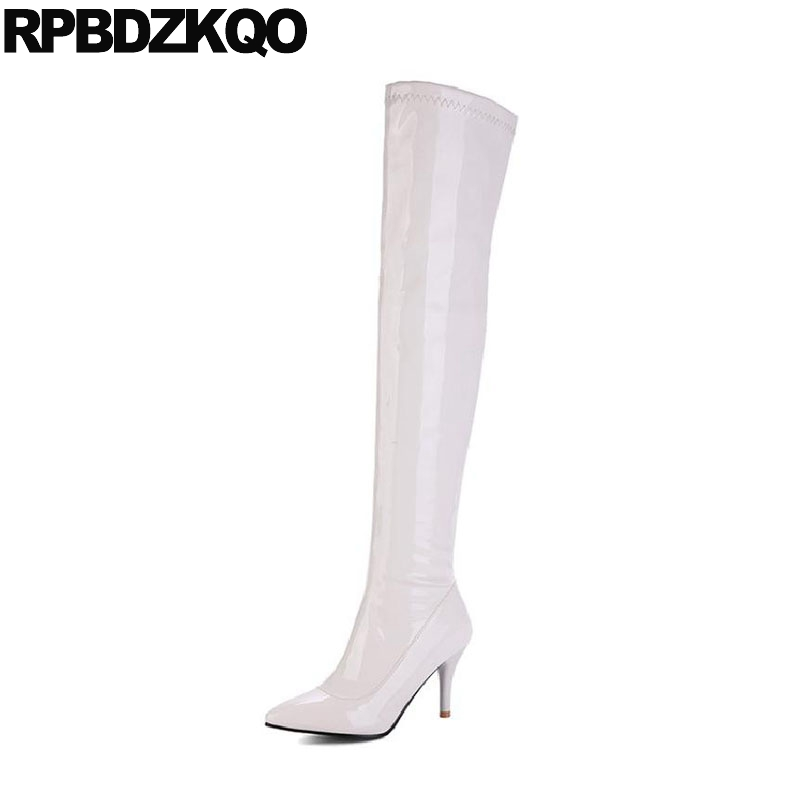 Size 10 43 Stretch Over The Knee Pointed Toe 13 45 Ladies Stiletto Patent Leather High Big Slim Thigh Boots For Plus Women 12 44