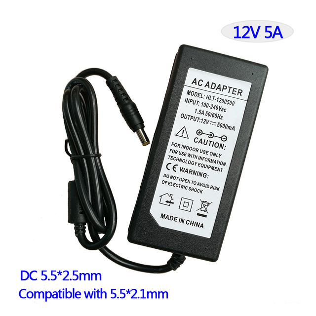 Beautiful Led Switching Power Supply AC/DC Adapter 12V 5A 60W Table Type With AC Cable