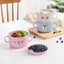 050 Cartoon Wheat straw double ear blanching cover children bowl Soup 18*11.5cm