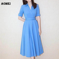 Women Dress Summer Modest Office Ladies Workwear Elegant with Waistband Casual Long Dresses Fashion Robes Tunics Gowns Clothing