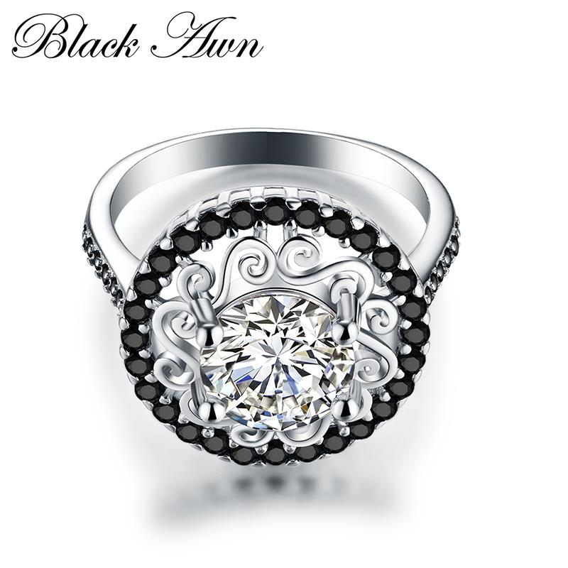 Flower 925 Sterling Silver Fine Jewelry Trendy Engagement Bague Femme For Women Wedding Rings Anillos De Plata 925 De Ley C046