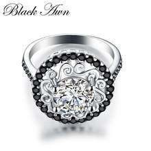 Flower 925 Sterling Silver Fine Jewelry Trendy Engagement Bague Femme For Women Wedding Rings Anillos De Plata 925 De Ley C046(China)
