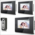 7 Inch touch screen Video Door Phone Doorbell Intercom Kit 1 camera 3 monitor Night Vision for home security