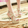 QUTAA Sexy Fashion Sandals Super High Heel Platform Pumps Beige Apricot Orange 3 Colors Women Party Shoes Size 34-43