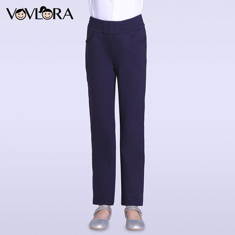 VOVLORA 2017 Утепленные брюки для девочек на флисе трикотажные школьные теплые брюки для девочек на резинке со средней посадкой прямые зимние шт...
