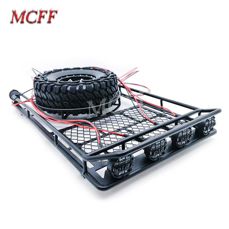 Porte-bagages de toit en métal avec support de pneu de rechange lumière LED pour chenille 1/10 RC Trx4 Bronco SCX10 CC01 TF2