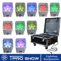 10pcs/Lot Wireless LED Par RGBWA UV Battery Operated Stage Light Dmx512 Control Upward Lighting Decorate Event Wedding Hotel