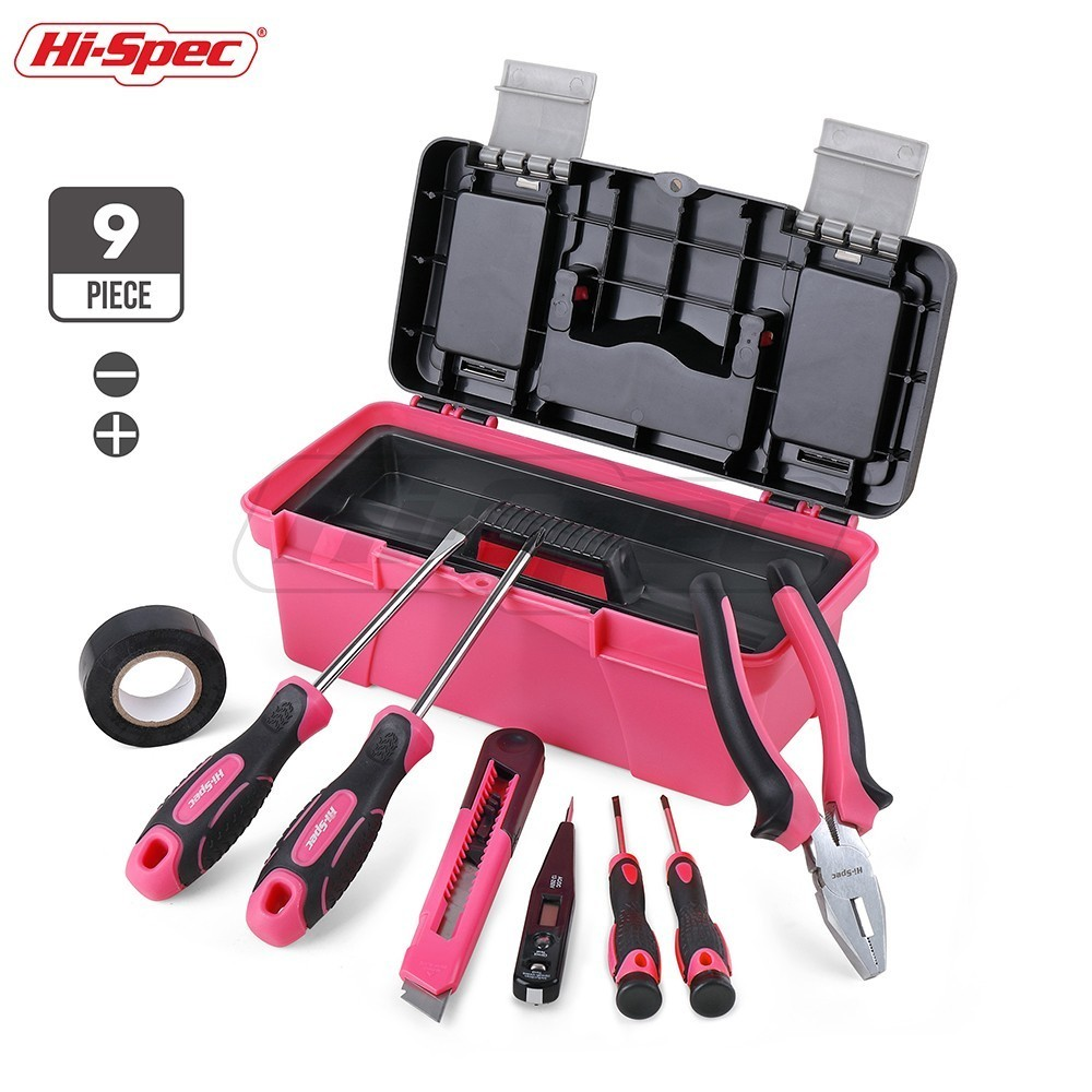 Hi-Spec Pink 9pc Hand Tool Set Girl Lady Women DIY Household Tool Set Repair Tools & Kits Toolbox Screwdriver Diagnostic Tool