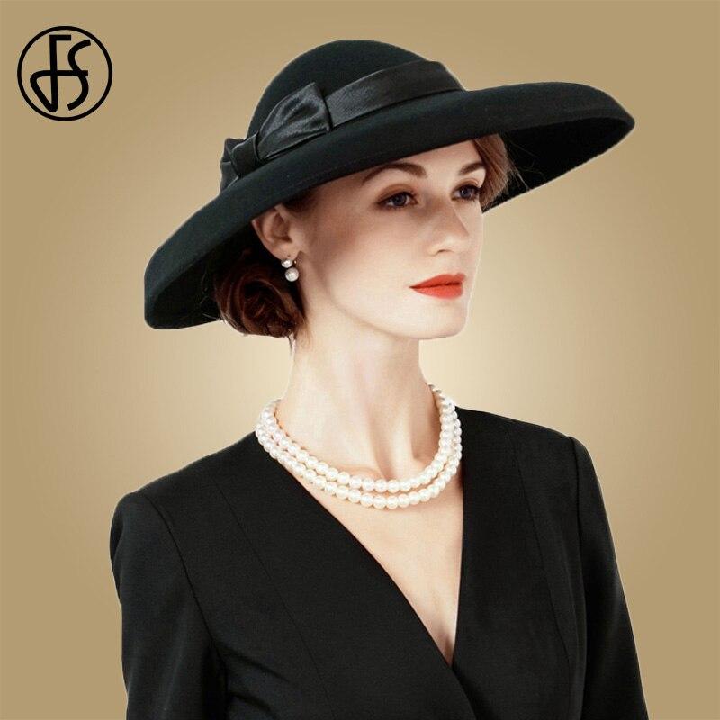 3421a009ded2e FS Black Large Brim Wedding Hats For Women Vintage 100% Australia Wool Felt  Fedora With