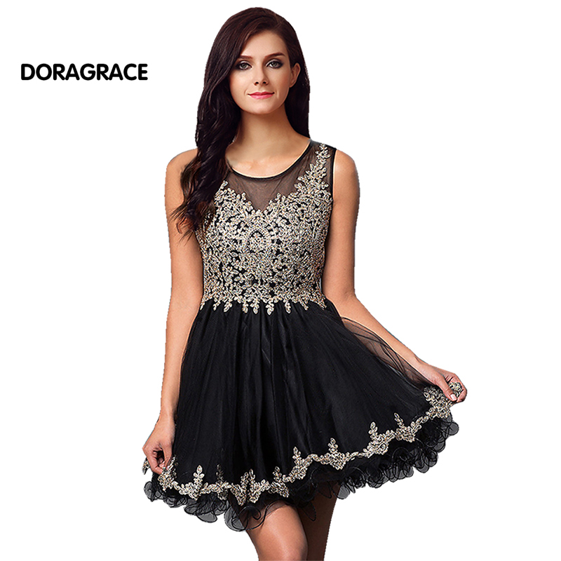 New Fashion Applique Beaded Short   Cocktail     Dresses   Tulle Party   Dress   vestido de festa curto DGC008