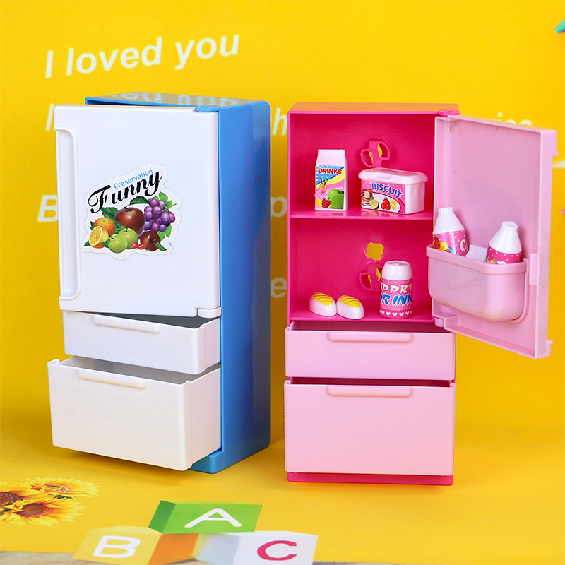 muebles de casa de muecas juego set doll dulce rosa azul congelador para barbie